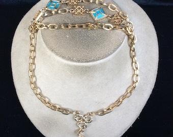 Vintage Blue Stone Tassle Pendant Necklace