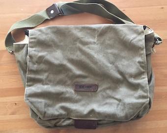 Handmade green canvas bag.