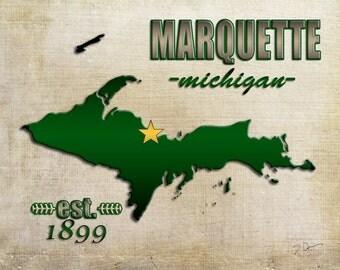 Michigan Photography, Michigan Art, Upper Peninsula, Print, Marquette MI, Green Gold, MI Map, UP Map, Marquette Map, University Map,