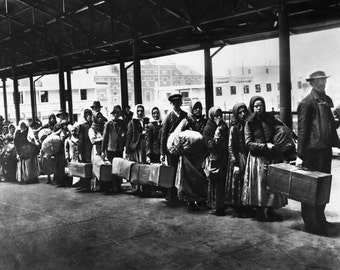 Ellis Island Arrivals late 1800s Immigration- NYC Photo Print
