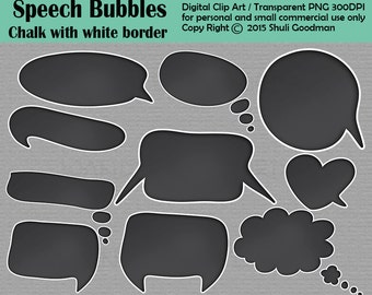 Chalkboard Speech Bubbles clip art - Chalkboard style For Personal and Commercial Use - Digital Clip Art  - Instant Download