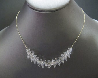 Rock Quartz Crystal Solid Gold Choker