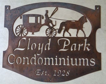 Custom metal sign with horse and carriage