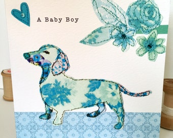 New baby boy-Greeting Card- handfinished