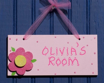 Girl's Flower Room Sign. Hand Personalized, Pink Flower. Kids Wall Decor. Girls Room Decor. Door Sign. Girls Name Sign. Made in USA. OLIVIA.