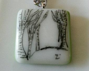 Branch Birch tree  bouleau  keychain,porte-cle .Fused glass