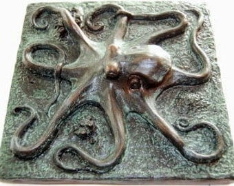 Octopus plaque, octopus tile, octopus art and sculpture.  An octopus wall sculpture for any home especially nautical and coastal decor.