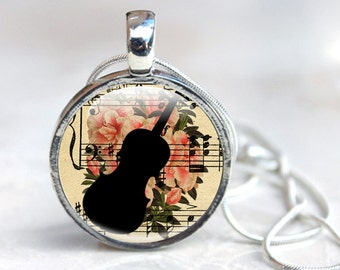 Cello Jewellery, Floral Necklace with Violin Silhouette, String Instruments, violinist Player, violin Necklace, Gift for Music lover,