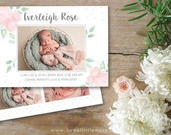 Hand Painted Girl Birth Announcement Template - 5x7 birth announcement template - newborn photography template  INSTANT DOWNLOAD