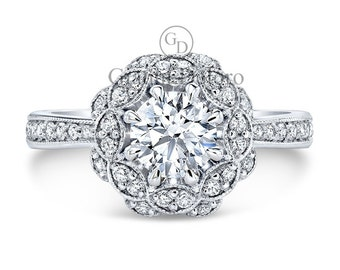 "0.50ct Vintage Halo Diamond Engagement Ring ""The Bouquet"""