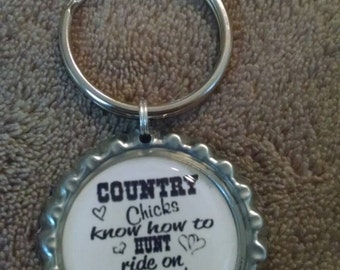Country Chicks Know How Silver Bottlecap Keyring Gift Idea!