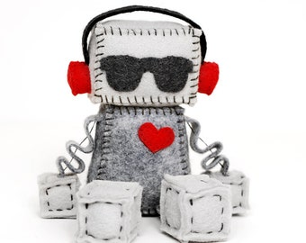 Felt Robot with Punk Red Headphones and a Red Heart, Headphone Robot with Sunglasses