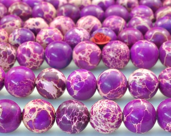 37 pcs of Purple Imperial Jasper,Purple Emperor stone smooth round beads in 10mm