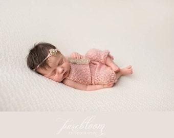 Newborn size knit romper with tie back in mohair blend Newborn Knit Romper, Bonnet, Set, Photography Prop gift idea