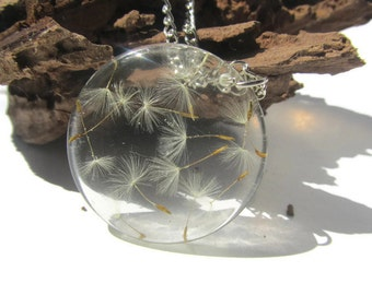 Dandelion Wish Resin Necklace Extra Clear Dandelion Pendant Make a Wish Necklace Resin Pendant Resin Wish Necklace Transparent Resin Pendant