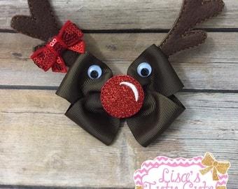 Rudolph Bow. Christmas Bow. Holiday Bow.