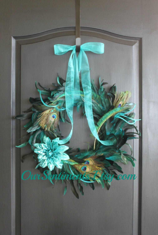 Peacock feather wreath summer wreath home decor by for Peacock feather decorations home