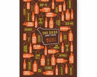 Beer Poster, San Diego, Breweries, Craft Beer, Art Print, Padres - The Beers of San Diego Art