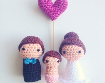 Wedding Cake Toppers (Bride, Groom, Baby and One Heart)