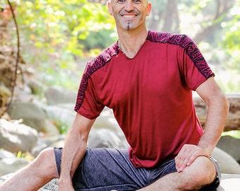 Mens Yoga/Ecstatic Dance T-Shirt -  Red Ikat