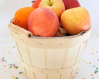 SALE - 50% Large Apple Basket - Birch Wood with Handle