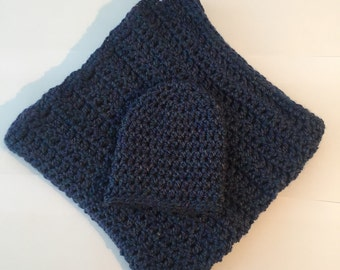 Plain Dark Blue and Purply Blanket and Hat