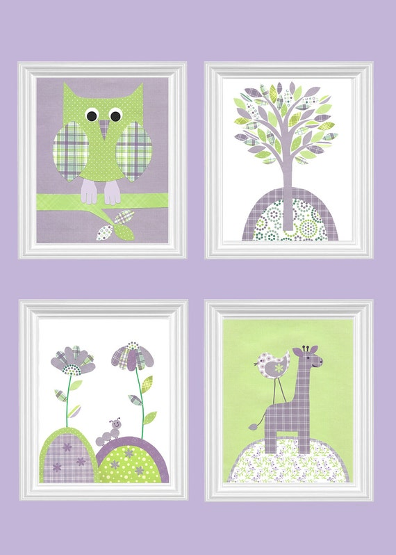 Purple And Green Nursery Owl Nursery Decor Giraffe Bird