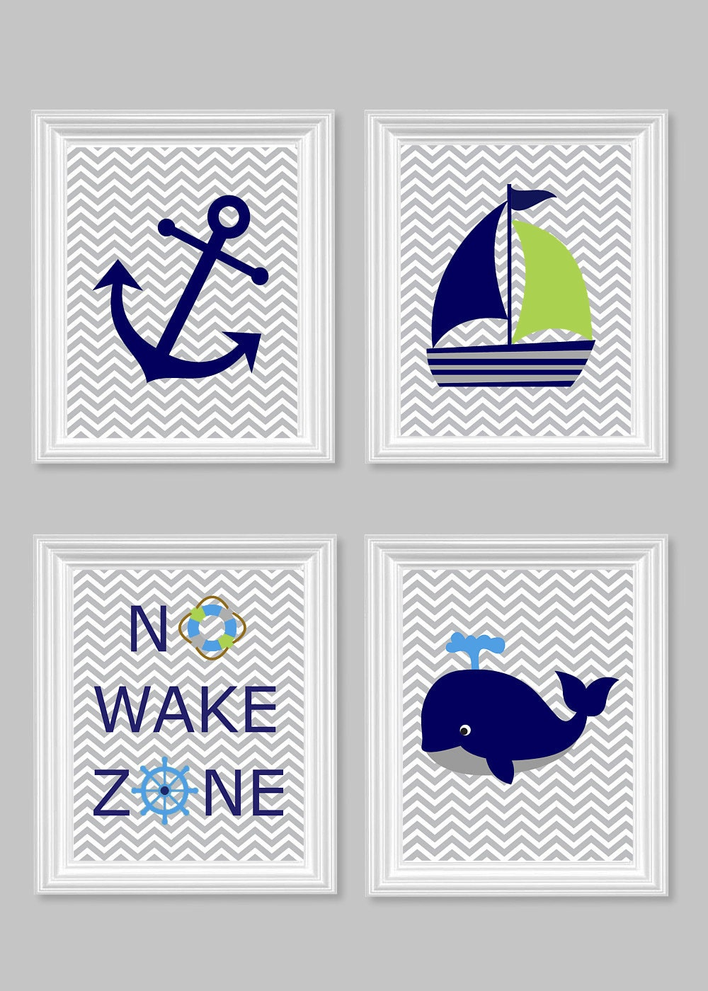 Nautical Nursery Art No Wake Zone Whale Anchor Sailboat