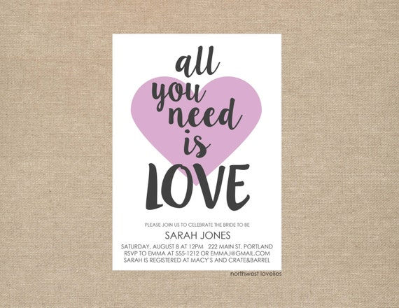 All You Need Is Love Wedding Invitations: All You Need Is Love Bridal Shower Invitation