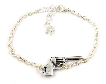 Silver plated gun bracelet - silver mix and match armcandy