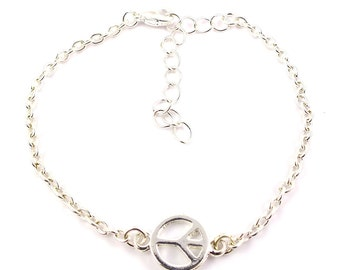 Silver plated peace bracelet - silver mix and match armcandy