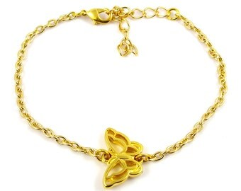Gold plated butterfly bracelet - gold mix and match armcandy - silver