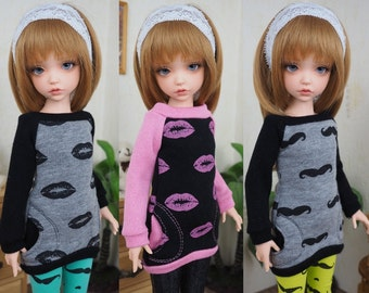 Kawkana - Modern Hoodie, Mustache, Pink Lips Hoodie, with pockets for Iplehouse KID, Unoa CHIBI, Clothes for other 35cm BJD