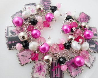 Pink and Black Boutique Chic Picture Charm Bracelet Cha Cha Bracelet Altered Art Bracelet