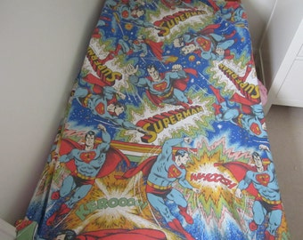 Vintage Superman DC Comics  Single Twin Duvet Cover With Pillowcase, 70's Children's Bedding Or Project Fabric