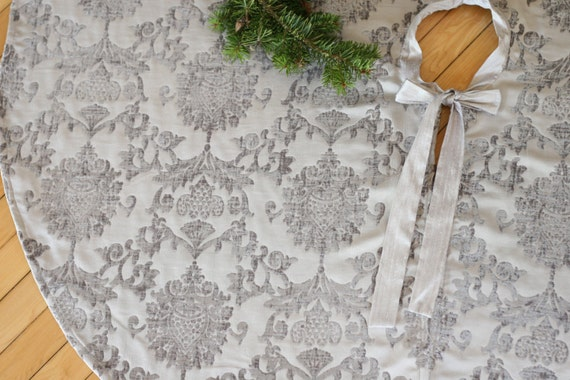 Christmas Tree Skirt Damask Chenille Silver By GreenwoodCorner