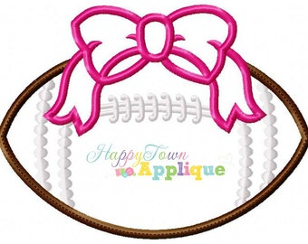 Football with Bow Machine Applique Design