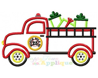 Christmas Firetruck Machine Embroidery Applique Design