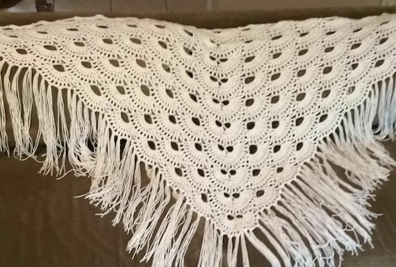 Crochet Virus Shawl, Cream Shawl, Triangle Shawl, Shoulder Wrap ...
