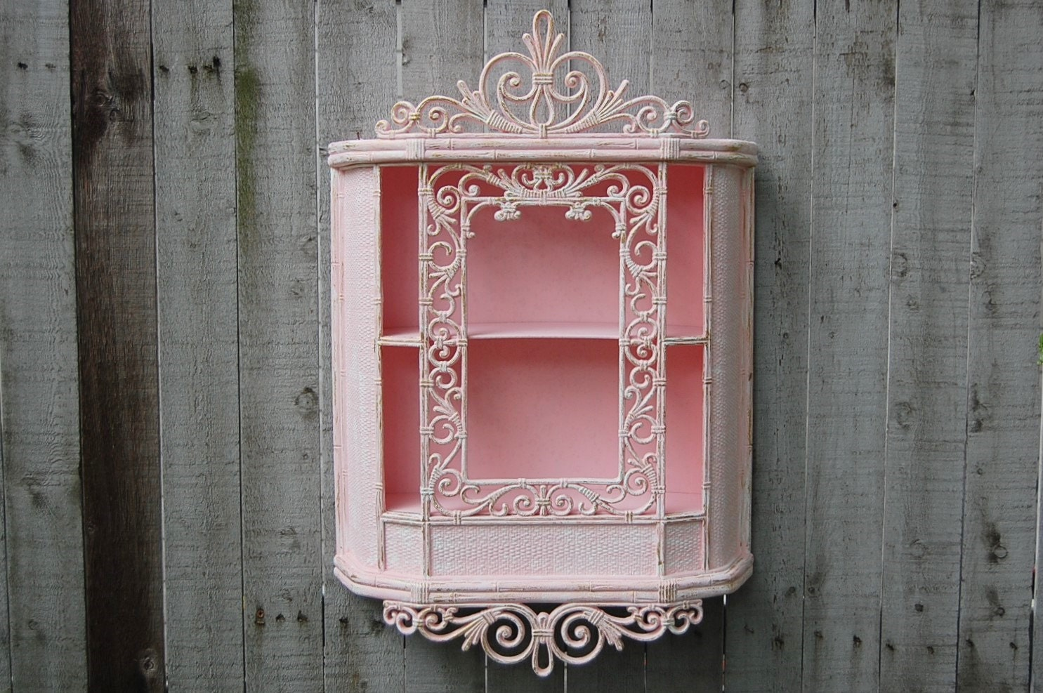 wall cabinet shabby chic pink white gold hand painted