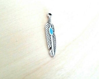 Tibetan silver feather charms