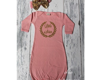 Little Sister Outfit, Baby Gown, Newborn Gown, Baby Sleeper, Baby Hospital Outfit, Baby, Baby Take Home Outfit, Baby Girl,