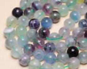 11.5mm  Natural, Rainbow Fluorite 11.5mm Gemstone Round Beads, FULL STRAND