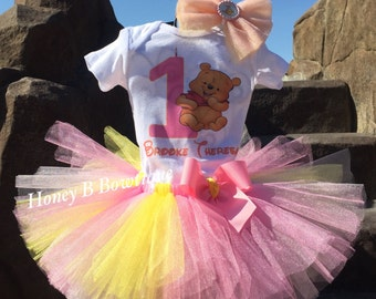 Winnie the Pooh First Birthday Tutu Outfit, Pooh Birthday Tutu Outfit, Winnie the Pooh Tutu, Winnie The Pooh Tutu Set WP1