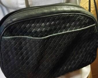 Vintage leather navy Ganson purse/handbag.