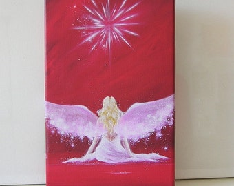 """Angel painting on canvas - print streched on wooden frame: """"encounter"""" , abstract wall art, artwork,gift,spiritual,magic,"""