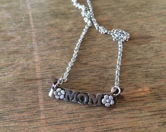 Mom Tattoo Style Banner Necklace