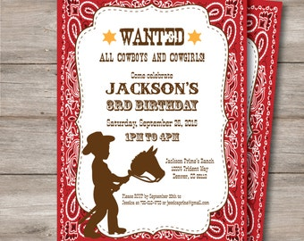 Cowboy Birthday Party Invitation with Editable Text - Instant Download Editable Cowboy Invite - Personalize Print at home with Adobe Reader