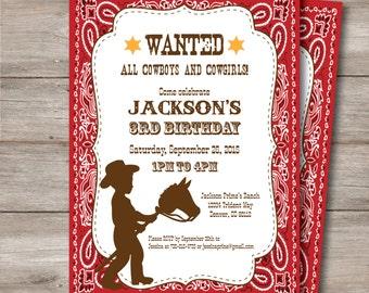Cowboy Birthday Invitation with Editable Text, Printable Cowboy Invitation, Cowboy Party Invitation with Editable Text, Cowboy Party Digital