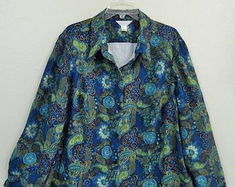 Christopher + Banks Womens 3X Plus Size Black Green Blue Paisley Long Sleeve Blouse/Shirt